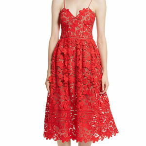 Boutique S Red Lace Overlay midi dress Cocktail